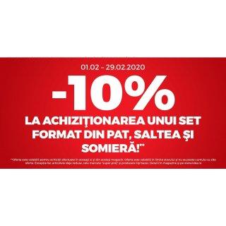 10% reducere la achizitionarea unui set format din pat, saltea si somiera