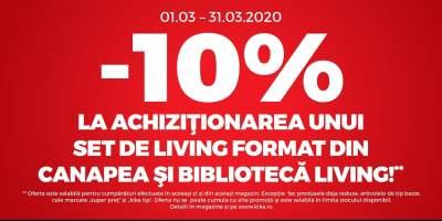 10% reducere la achizitionarea unui set living format din canapea si biblioteca