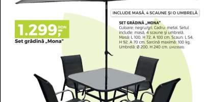 Set gradina Mona  - scaune, masa, umbrela cadru metalic