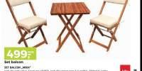 Set mobilier pliabil din lemn pentru exterior Mira