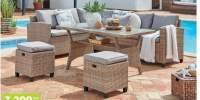 Set lounge rattan Lionel - coltar, masa, tabureti