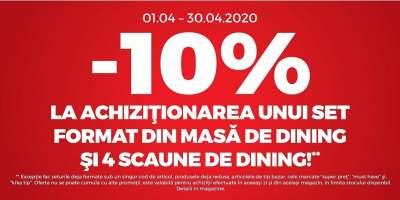 10% reducere la achizitionarea unui set format din masa dining si 4 patru scaune