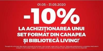 10% reducere la achizitionarea unui set format dintr-o canapea si o biblioteca
