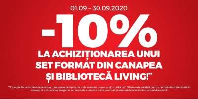 Reducere 10% la achizitionarea unui set format din canapea si biblioteca pentru living