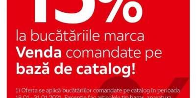 15% reducere la bucatariile marca Venda comandate pe baza de catalog