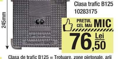 Capac fonta 245x245 milimetri clasa trafic B125