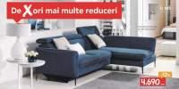 Canapea modulara coltar albastru textil