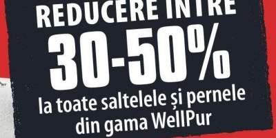 Reducere intre 30-50% la toate saltelele si pernele din gama WellPur
