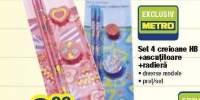 Set 4 creioane HB + ascutitoare + radiera