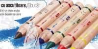 Set creioane colorate cu ascutitoare