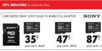 Card micro SDHC Sony Class 10 40MB/s cu adaptor