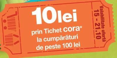 10 lei prin tichet cora* la cumparaturi de peste 100 lei
