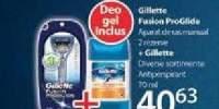Gillett Fusion ProGlide aparat de ras manual 2 rezerve + Gillette antiperspirant