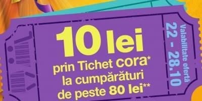 10 lei prin tichet Cora la cumparaturi de peste 80 lei