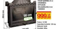 Focar seminetu A1.2 Cheminees Diffusion 694.8x690x350.1 milimetr