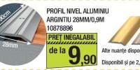 Profil nivel aluminiu argintiu