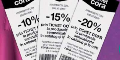 10% - 20% prin tichet Cora la produsele semnalizate in catalog si la raft!