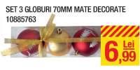 Set 3 globuri mate decorate