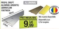Profil drept aluminiu argintiu