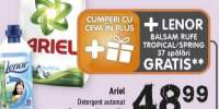 Ariel, detergent automat + balsam Lenor  GRATIS