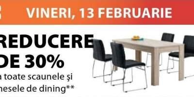 Reducere de 30% la toate scaunele si mesele de dining