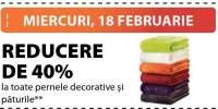 Reducere de 40% la toate pernele decorative si paturile