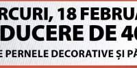 Miercuri, 18 februarie reducere de 40% la toate pernele decorative si paturile!