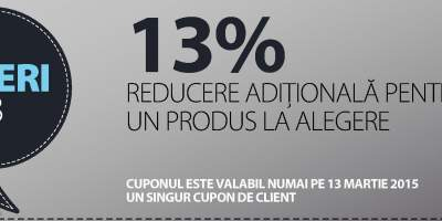 13% reducere aditionala pentru un produs la alegere