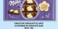 Tableta de ciocolata cu lapte cu iepurasi de ciocolata alba, Milka