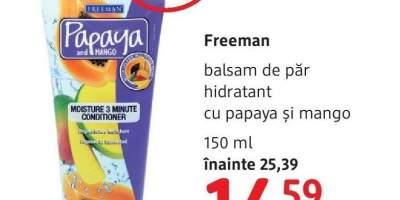 Balsam de par hidratant cu papaya si mango, Freeman