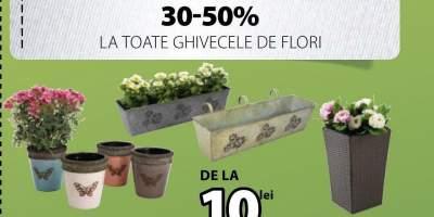 30 - 50% la toate ghivecele de flori