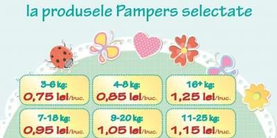Pana la 26% reducere la produsele Pampers selectate