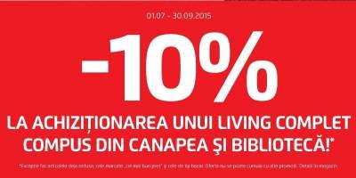 10% la achizitionarea unui living complet compus din canapea si biblioteca!