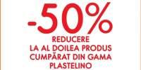 50% reducere la al doilea produse cumparat din gama Plastelino