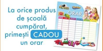 La orice produs de scoala cumparat, primesti cadou un ORAR!