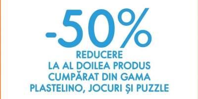 50% reducere la al doilea produs din gama Plastelino, jocuri si puzzle!