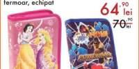 Penar cu 2 compartimente si fermoar, echipat DIsney Princess/Spiderman