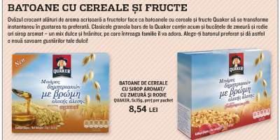 Batoane de cereale cu sirop aromat/ cu zmeura si rodie, Quaker