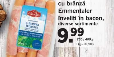 Carnati cu branza Emmentaler inveliti in bacon, Alpengut
