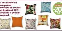 20% reducere la toate pernele decorative din colectia primavara- vara 2015!