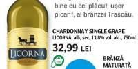Licorna Chardonnay Single Grape si Originar - branza maturata trascau de coltesti