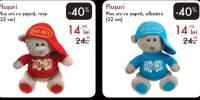 Plus urs cu sapca, rosu/ albastru