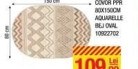 Covor PPR 80x150 centimetri Aquarelle bej oval