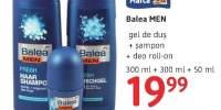 Gel de dus + sampon + deo roll-on, Balea Men