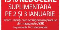 15% reducere suplimentara pe 2 si 3 ianuarie