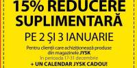 15 % reducere suplimentara pe 2 si 3 ianuarie
