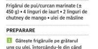 Frigarui de pasare cu sos de iaurt si mango