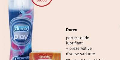 Lubrifiant+ prezervative Durex perfect glide