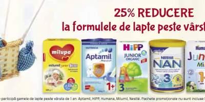 25% reducere la formulele de lapte peste varsta de 1 an