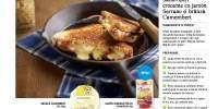 Sandvisuri crocante cu jamon Serrano si branza Camembert